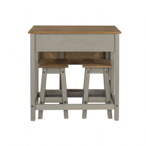 Premium Corona Grey Wash Breakfast Table & Stools